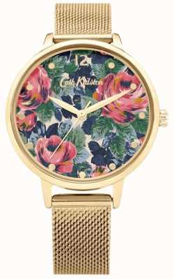 Cath Kidston Pembroke Rose | goldgeflecht armband | floral zifferblatt | CKL085GM