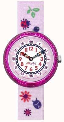 Flik Flak | Herbstfarben | pinkes bedrucktes Armband | weiß / pinkes Zifferblatt | FBNP093