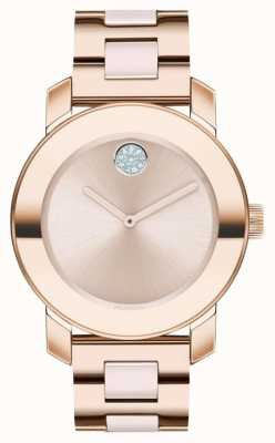 Movado Fett | rosé vergoldetes Armband | roségoldfarbenes Zifferblatt | 3600639