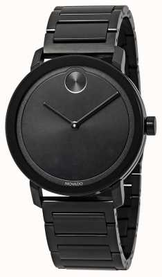 Movado | fett | schwarzes edelstahl armband | schwarzes Zifferblatt | 3600538