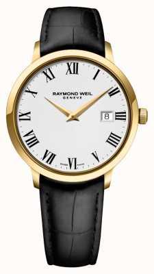 Raymond Weil Herren | toccata | schwarzes Lederband | weißes Zifferblatt 5488-PC-00300