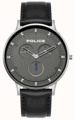 Police | Herren Berkeley | schwarzes Lederband | graues Zifferblatt | 15968JS/39
