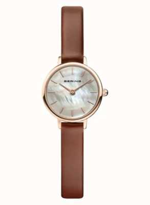 Bering | Frauenklassiker | braunes Lederband | Perlmutt | 11022-564