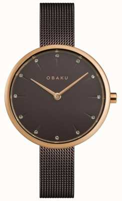 Obaku | frauen notat walnuss | braunes mesh armband | braunes Zifferblatt | V233LXVNMN