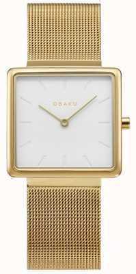 Obaku | Frauen Kvadrat Gold | goldgeflecht armband | weißes Zifferblatt | V236LXGIMG
