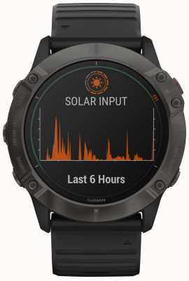 Garmin Fenix 6x Pro Solar Titan | kohlenstoffgrau dlc | schwarzer Gurt 010-02157-21