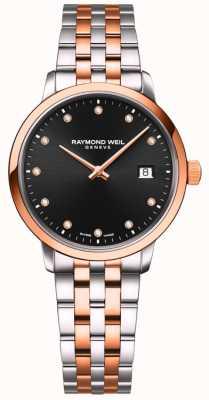 Raymond Weil | Frauentokata | zweifarbiges Armband | schwarzer Diamant gesetzt 5985-SP5-20081