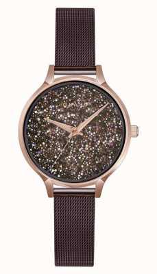 Obaku | damen st jerner walnuss | braunes mesh armband | Kristall V238LXVNMN