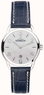 Michel Herbelin Wischmopp Zifferblatt Edelstahl Equinoxe blaues Armband 16977/19BL