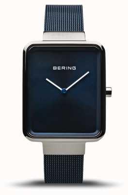 Bering Classic | silber poliert / gebürstet | blaues Netzband | 14528-307