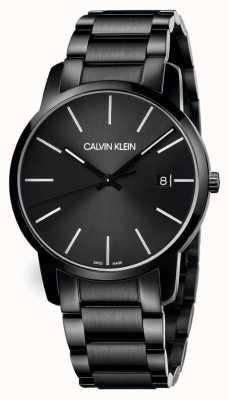 Calvin Klein   Männerstadt   schwarzes edelstahl armband   schwarzes Zifferblatt   K2G2G4B1