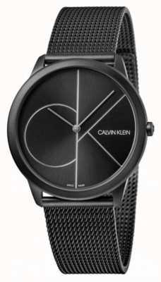 Calvin Klein | minimal | schwarzes stahlgitter armband | schwarzes Zifferblatt K3M5145X