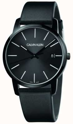 Calvin Klein   Männerstadt   schwarzes Lederband   schwarzes Zifferblatt   K2G2G4CX