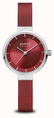 Bering Solar | poliertes silber | rotes mesh armband | rotes Zifferblatt | 14627-303
