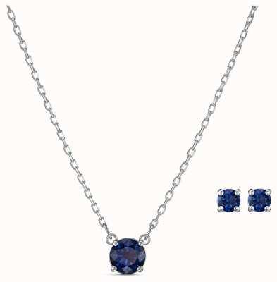 Swarovski | runden Satz anziehen blaue Halskette und Ohrringe | 5536554