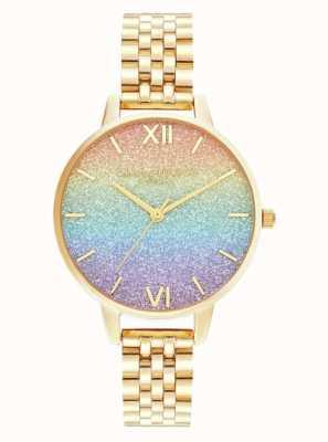 Olivia Burton | Regenbogen-Glitzer-Zifferblatt | goldenes Armband | OB16RB23