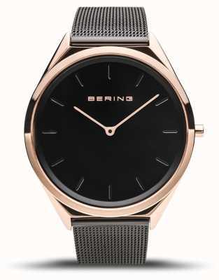 Bering | unisex | ultraflach | schwarzes mesh armband | 17039-166
