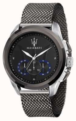 Maserati Traguardo | graues Stahlgitterarmband | schwarzes Zifferblatt R8873612006