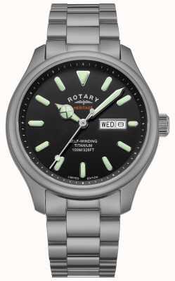 Rotary Herren Henley Automatik | Titanarmband | schwarzes Zifferblatt | GB05249/04