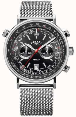 Rotary Herren Henley | Stahlgitterarmband | schwarzes Zifferblatt | GB05235/04