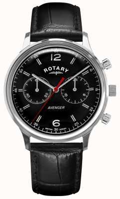 Rotary Männerrächer | schwarzes Lederband | schwarzes Zifferblatt | GS05203/04