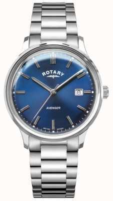 Rotary Rächer der Männer   Edelstahlarmband   blaues Zifferblatt GB05400/05