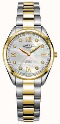 Rotary Henley für Damen | diamantbesetztes zifferblatt | zweifarbiges Armband | LB05111/41/D