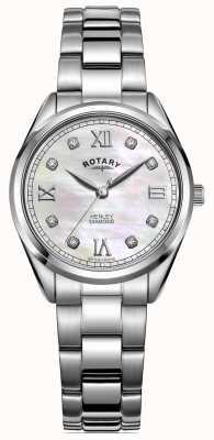 Rotary Henley für Damen | Edelstahlarmband | diamantbesetztes Zifferblatt LB05110/07/D