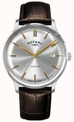 Rotary Rächer der Männer   braunes Lederband   silbernes Zifferblatt   GS05400/06