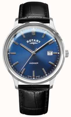 Rotary Männerrächer | schwarzes Lederband | blaues Zifferblatt | GS05400/05