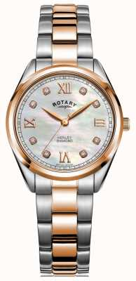 Rotary Henley für Damen | zweifarbiges Stahlband | diamantbesetztes Zifferblatt LB05112/41/D