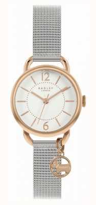 Radley | Damen Silber Mesh Armband | weißes Zifferblatt | Hundezauber RY4527