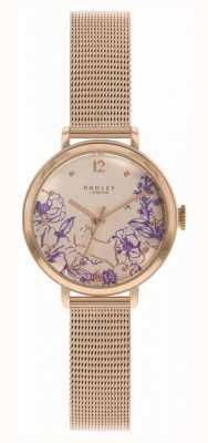 Radley | Roségold-Netzarmband für Damen | Zifferblatt mit Blumendruck RY4524