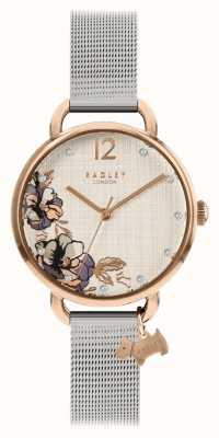Radley | Damen Silber Mesh Armband | Blumendruck Zifferblatt | RY4525