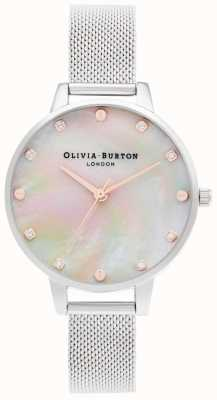 Olivia Burton   Demi Mop Zifferblatt mit Schraubendetail   silbernes Netzarmband   OB16SE07