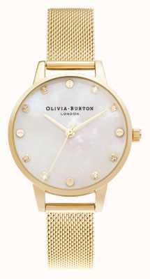 Olivia Burton   Midi Mop Zifferblatt mit Schraubendetail   hellgoldenes Netzarmband   OB16SE08