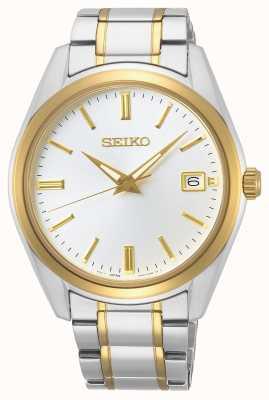 Seiko   konzeptionelle Herren Quarz   zweifarbiges Armband   silbernes Zifferblatt SUR312P1