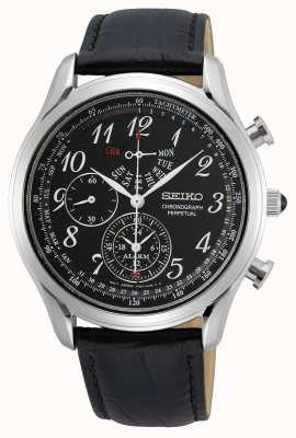 Seiko Konzeptionelle Herren Quarz | schwarzes Lederband | schwarzes Zifferblatt SPC255P1