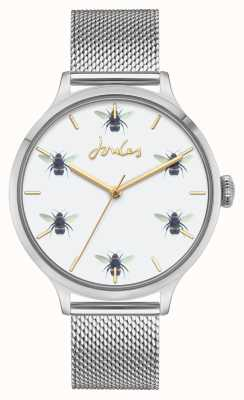 Joules Frauen | Edelstahlgewebe | Zifferblatt der weißen Biene JSL030SM