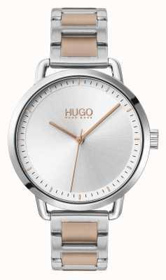 HUGO #mellow | zweifarbiges Stahlarmband | silbernes Zifferblatt | 1540057