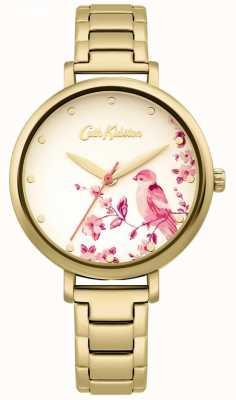 Cath Kidston Gold Edelstahl Armband | florales Vogelzifferblatt CKL099GM