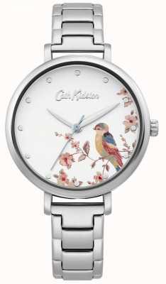 Cath Kidston Edelstahlarmband für Damen   silbernes Vogelzifferblatt CKL099SM