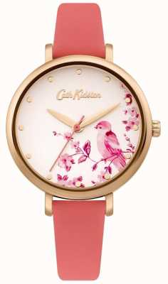 Cath Kidston Damen rosa Lederband | silbernes florales Vogelzifferblatt CKL099PRG