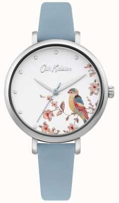 Cath Kidston Hellblaues Lederband   silbernes florales Vogelzifferblatt CKL099US