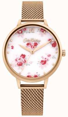 Cath Kidston | Damen Roségold Mesh Armband | weißes Blumenzifferblatt CKL095RGM