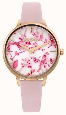 Cath Kidston Zifferblatt mit Blumen- / Vogeldruck | rosa Lederband | CKL106PRG