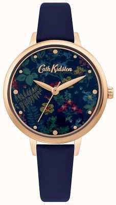 Cath Kidston Damen Zifferblatt mit Blumendruck | Marineblaues Lederband CKL096URG