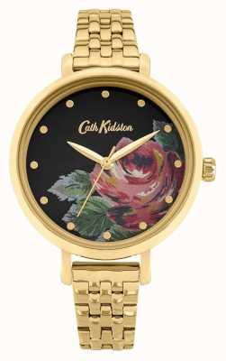 Cath Kidston   Frauen Oxford   vergoldetes Stahlarmband   Blumenzifferblatt CKL087GM