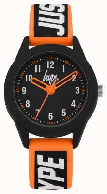 Hype | orange / schwarzes Silikonband | schwarzes Zifferblatt | HYK004OB