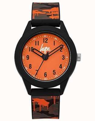 Hype | grau / orange Camo Silikonarmband | orangefarbenes Zifferblatt | HYK009NO